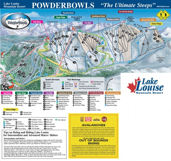 Lake Louise Ski Trail map - Ptarmigan/Paradise/Back Bowls 2005-06