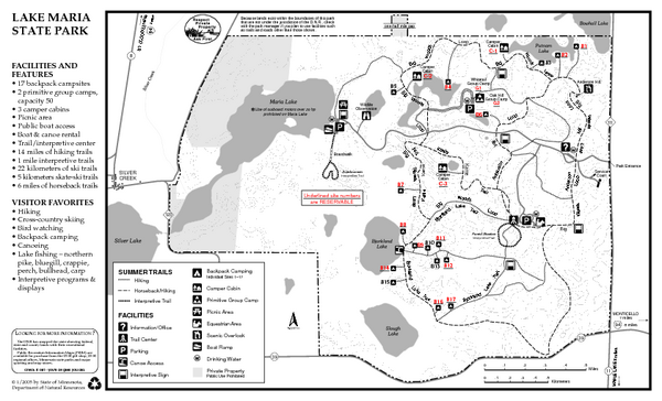 Lake Maria State Park Summer Map