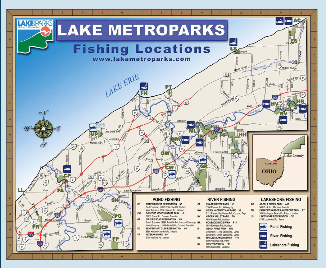 Lake metroparks fishing map near cleveland mappery for Fishing lakes in ohio