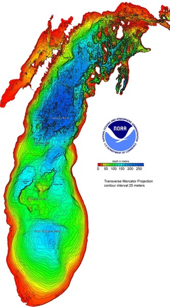 Lake Michigan Depths Map