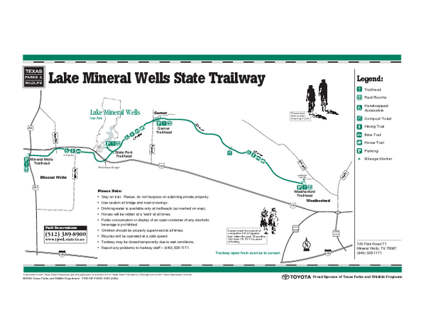 Lake Mineral Wells, Texas State Park Trail Map