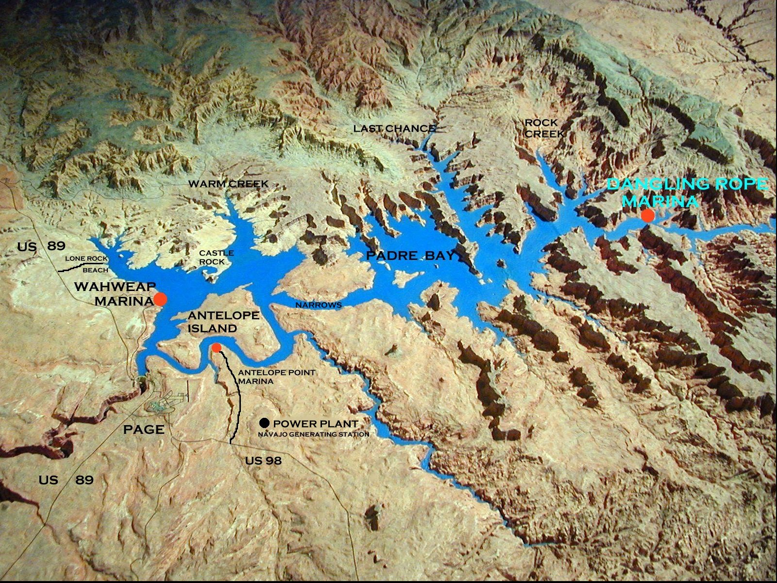Lake Powell Oblique Map lake powell mappery