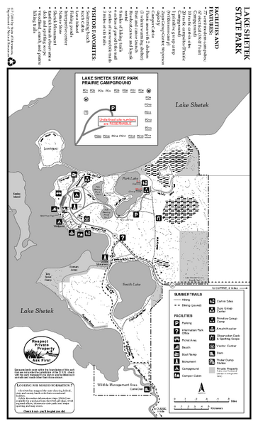 Lake Shetek State Park Summer Map