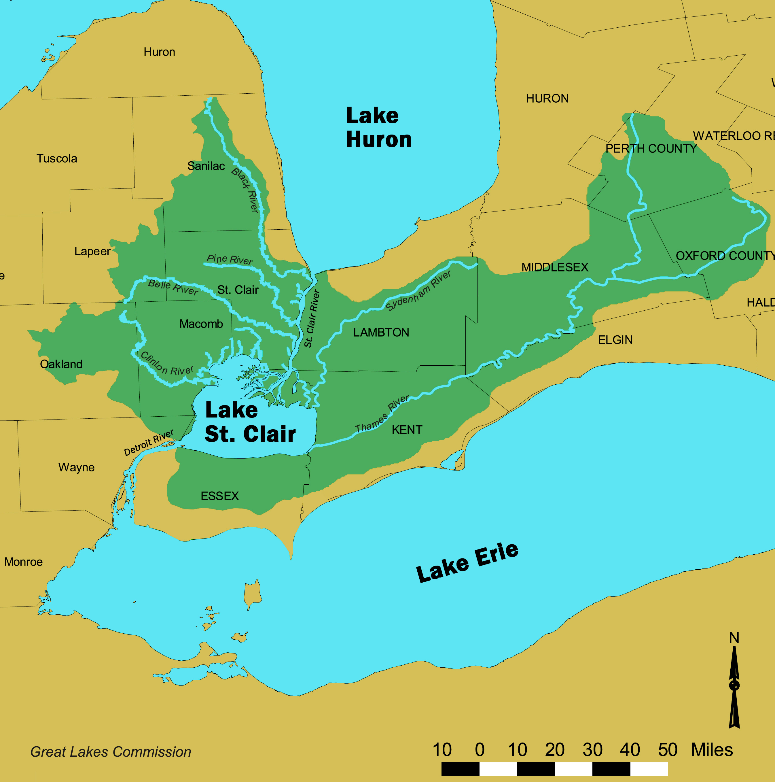 Lake St Clair-St Clair River watershed Map - Chatham-Kent Canada ...