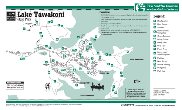 Lake Tawakoni, Texas State Park Facility and Trail Map