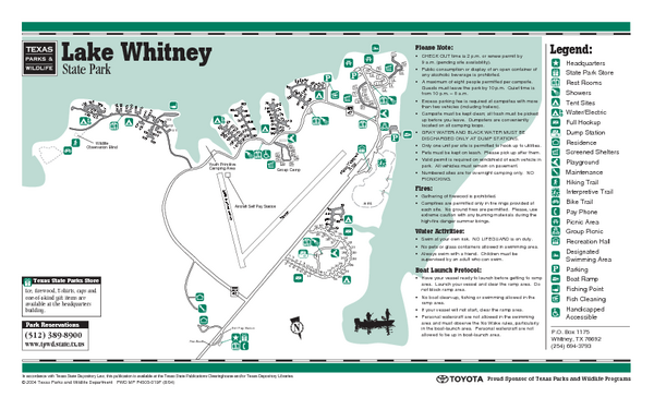 Lake Whitney, Texas State Park Facility and Trail Map