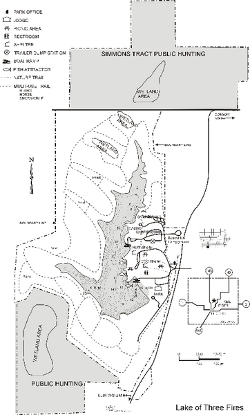 Lake of Three Fires State Park Map