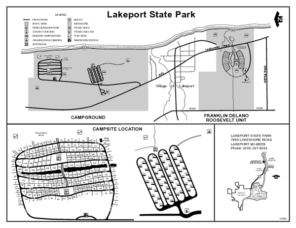 Lakeport State Park, Michigan Site Map
