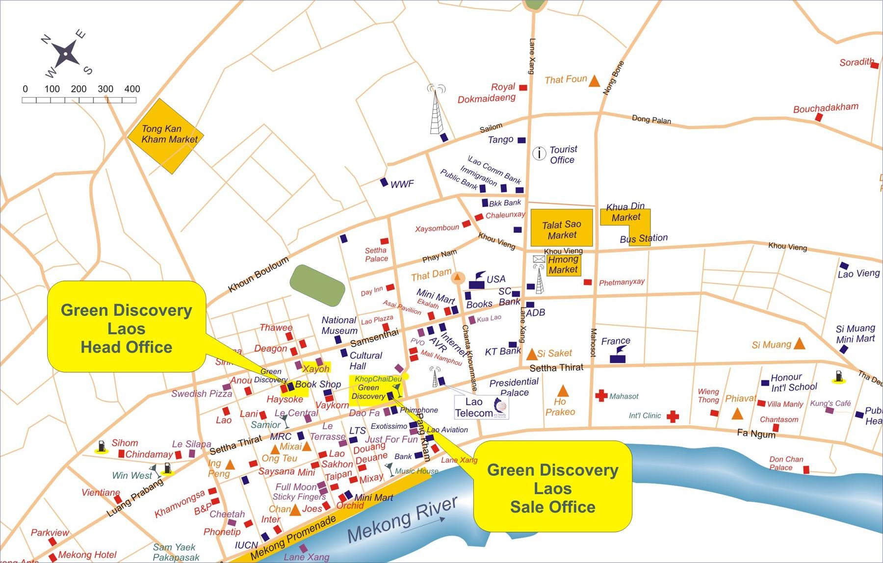 Laos City Tourist Map Laos mappery