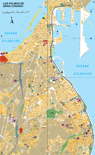 Map Of Spain Gran Canaria.Las Palmas Tourist Map Las Palmas De Gran Canaria Spain Mappery