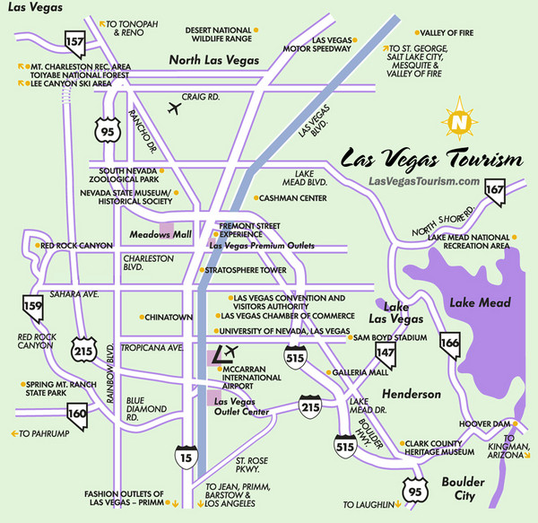 Las Vegas NV Tourist Map Las Vegas NV Mappery - Las vegas map nevada