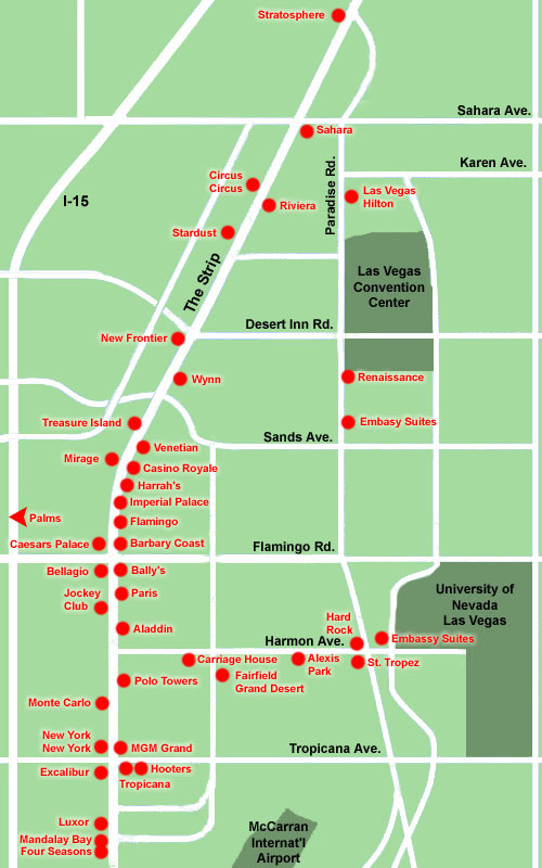 Las Vegas Strip Hotel Map Las Vegas Nevada Mappery - Planet hollywood las vegas map