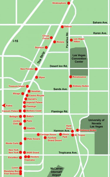 Las Vegas Strip hotel map - las vegas nevada • mappery
