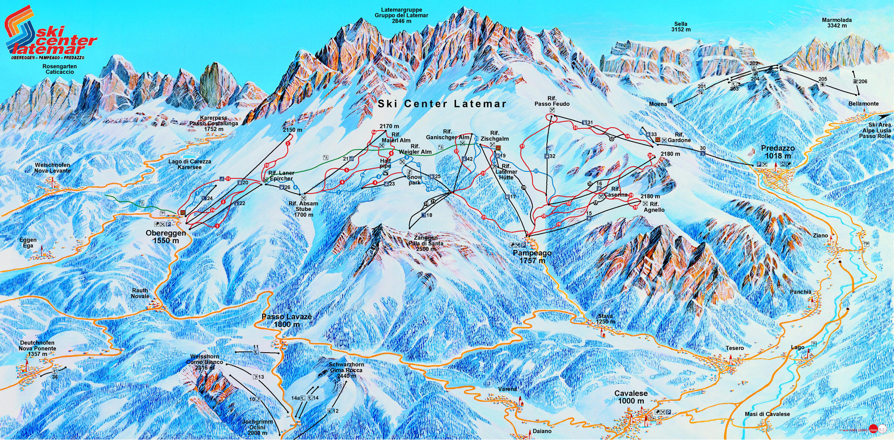 Latemar Val di Fiemme Obereggen Ski Center Latemar Ski Trail Map