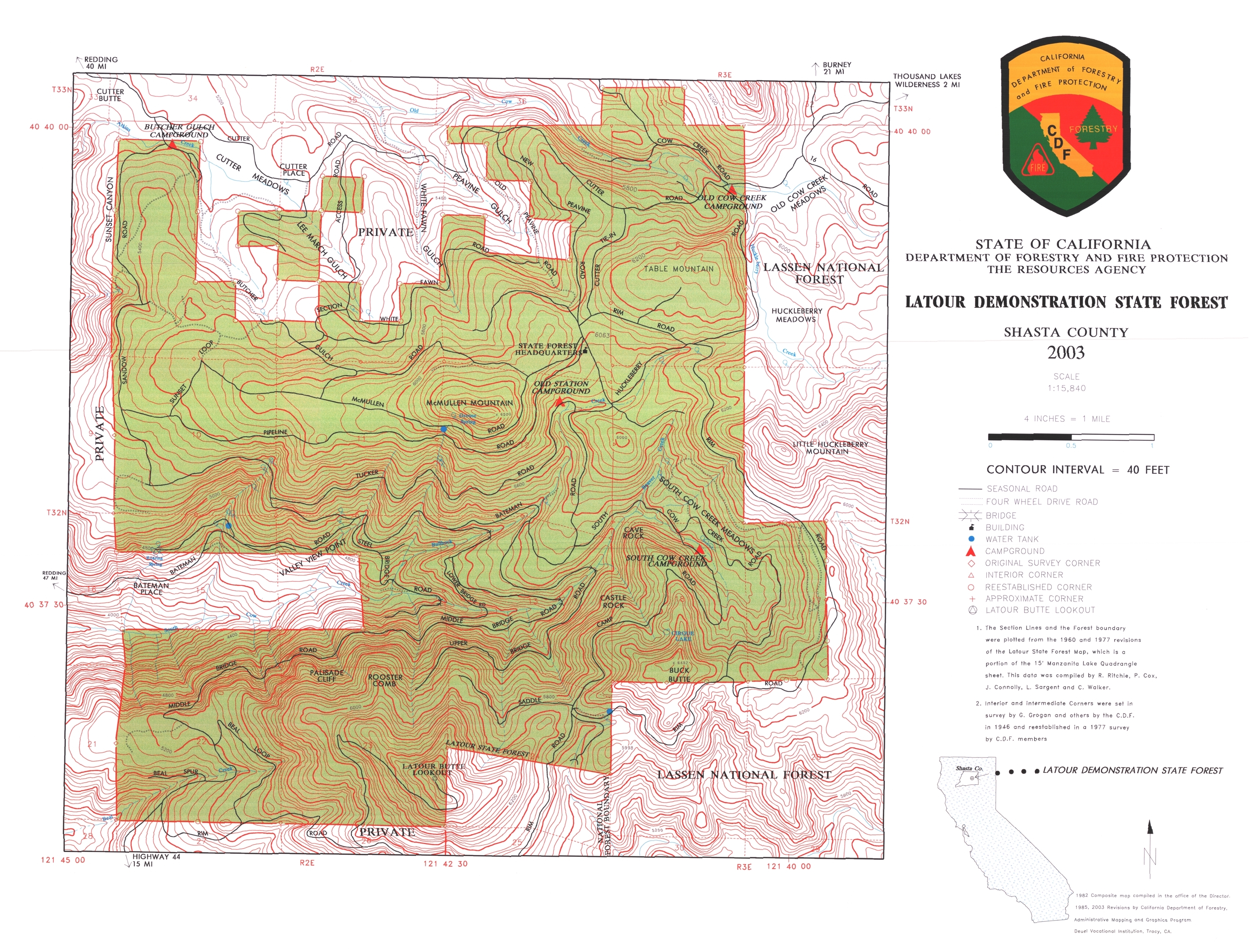 Latour State Forest Map - Shasta county California • mappery