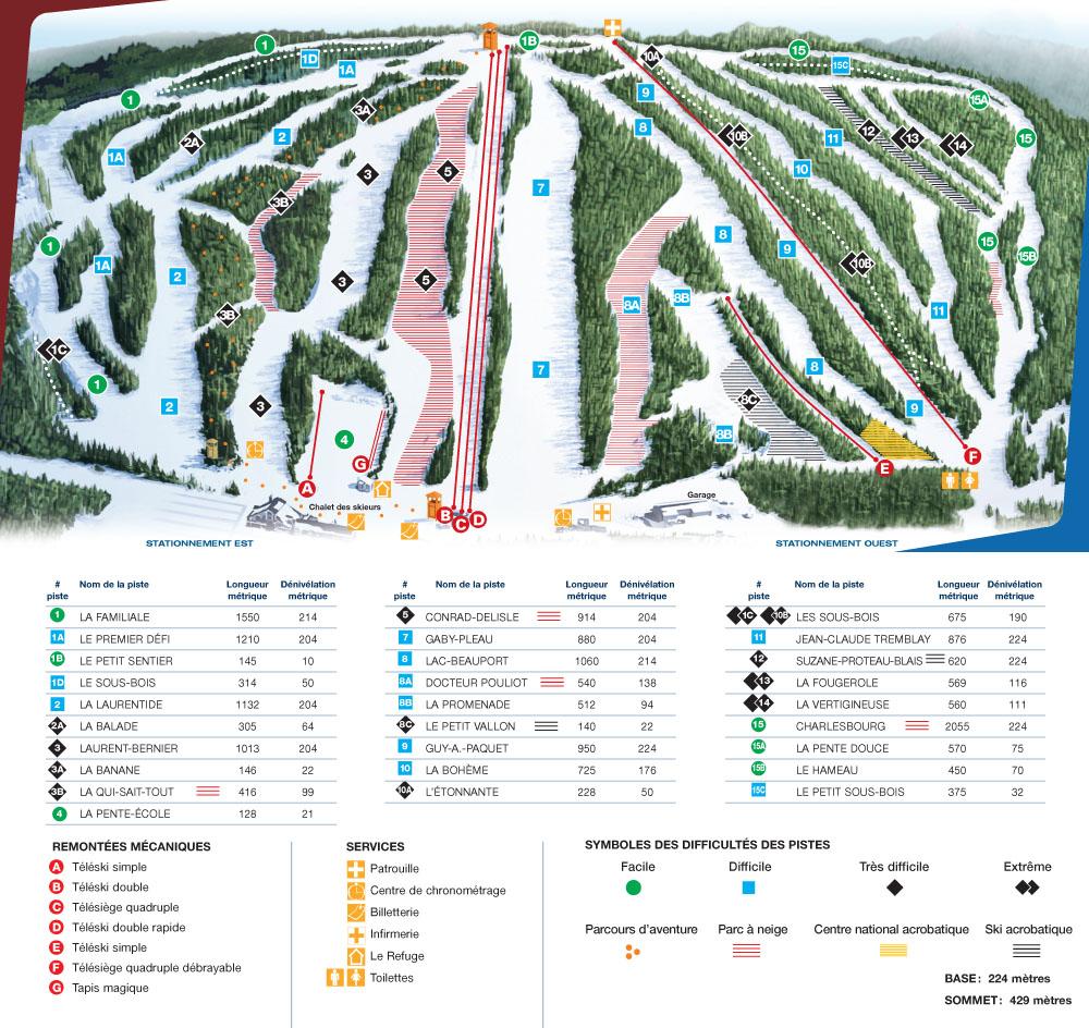 le relais ski trail map - quebec canada • mappery
