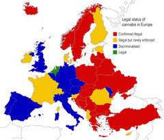 Legal Status of Cannabis in Europe Map