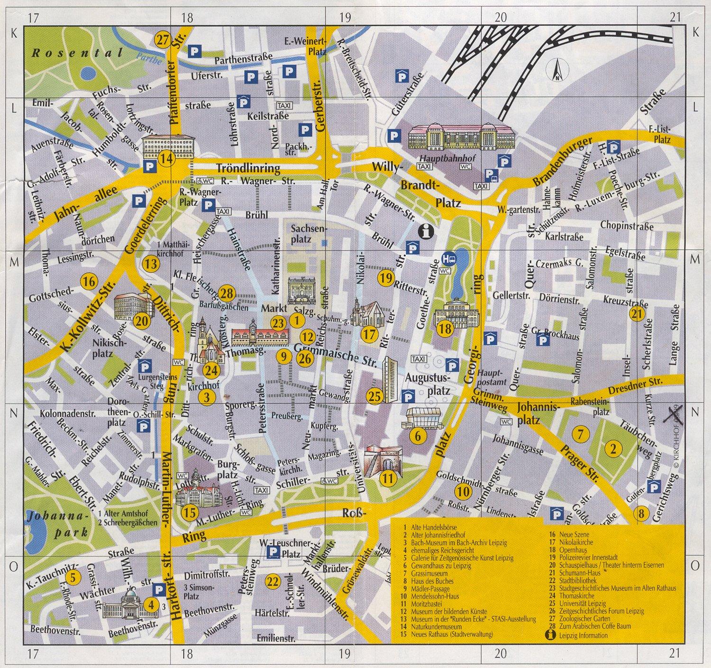 Leipzig Inner City Tourist Map Leipzig Germany mappery