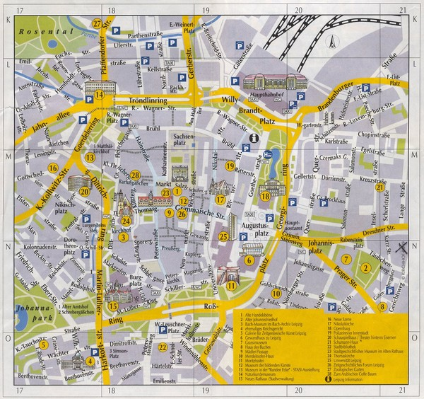 Leipzig Inner City Tourist Map Leipzig Germany mappery