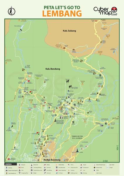 Bandung tourist map bandung indonesia mappery lembang tourism map sciox Gallery