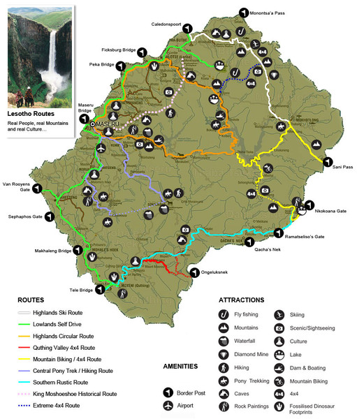 Lesotho Tourism Routes Map Mappery - Lesotho maps with countries