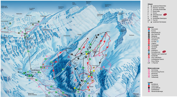 Leukerbad Ski Trail Map