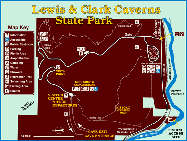 Lewis and Clark Caverns State Park Map