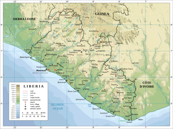 Liberia Physical Map mappery