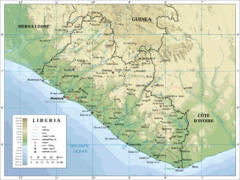 Liberia Physical Map