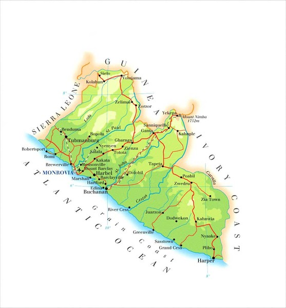 Liberia Topography Map • mappery