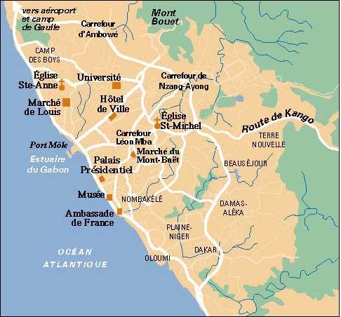 Libreville City Map Libreville Gabon Mappery - Gabon map