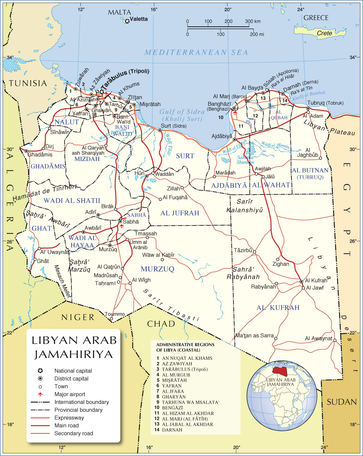 Libya Administrative Regions Map Libya Africa mappery