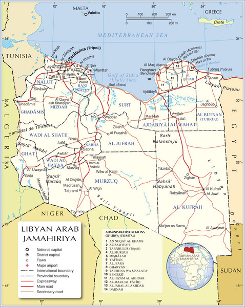 Libya Physical Map Libya mappery