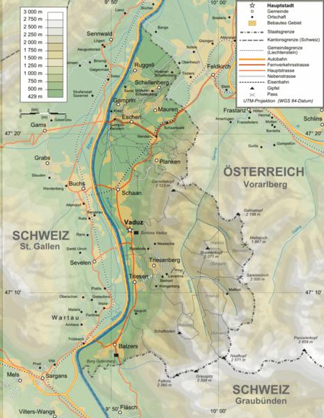 Liechtenstein topography Map liechtenstein mappery