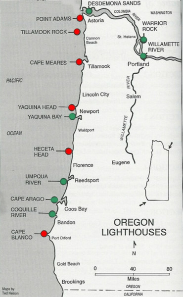 Lighthouses of the Oregon Coast Map
