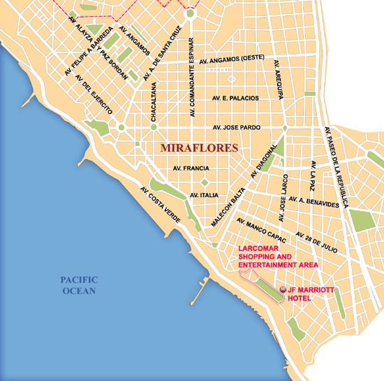 Lima Miraflores Area Map Lima Peru Mappery - Peru map lima