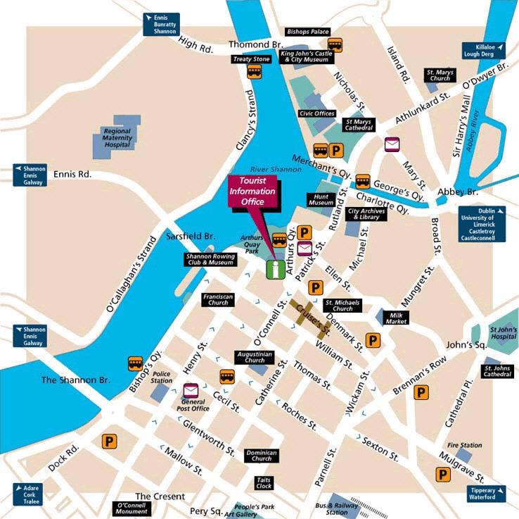 Limerick Tourist Map Limerick mappery