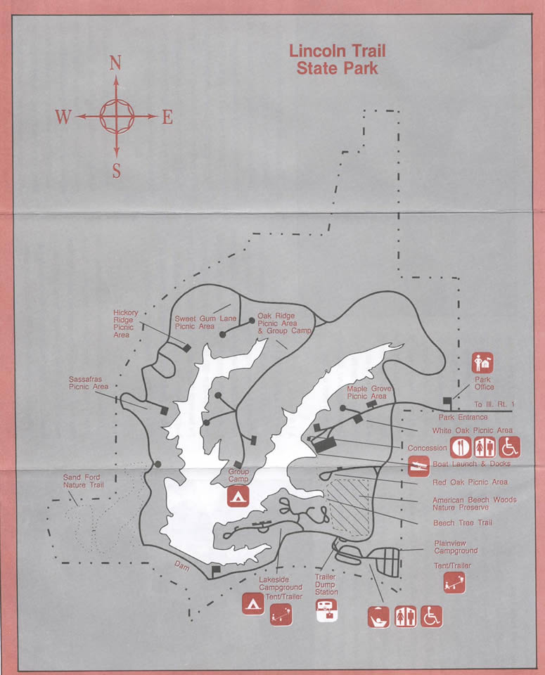 Lincoln Trail State Park Illinois Site Map - Lincoln Trail ... on illinois county indiana, illinois natural resources map, chicago illinois map of indiana, illinois county map world atlas, illinois physical map, clifty falls state park indiana,