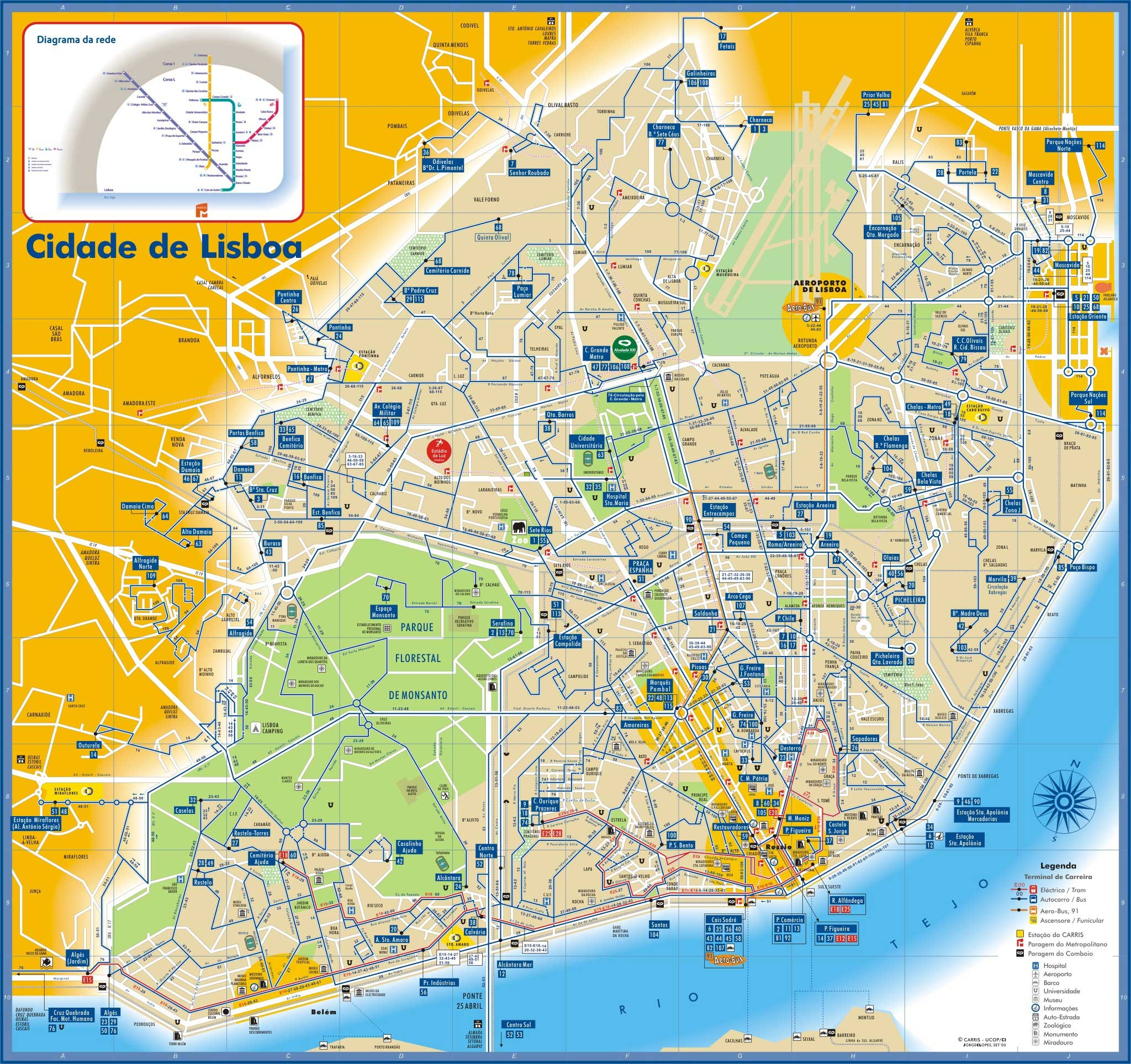 Lisboa Bus and Subway Map - Lisboa Portugual • mappery Lisbon Map