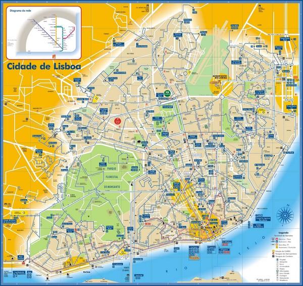 Lisboa Bus And Subway Map Lisboa Portugual Mappery - lisbon map