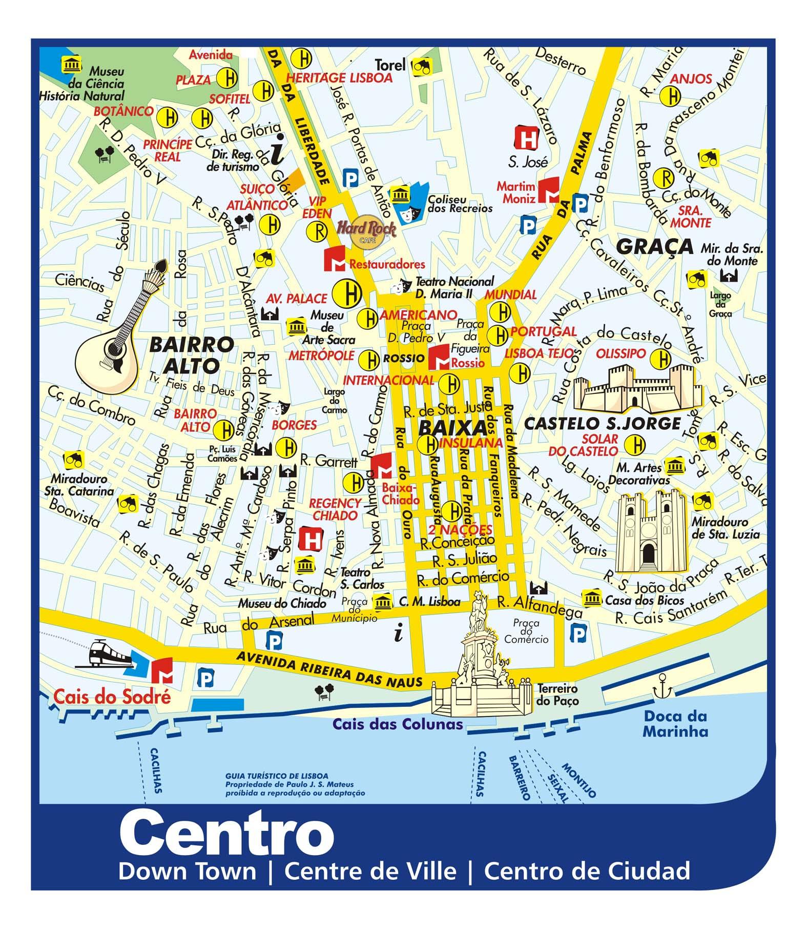 mapa lisboa Lisbon Downtown Tourist Map   Lisbon Portugal • mappery mapa lisboa