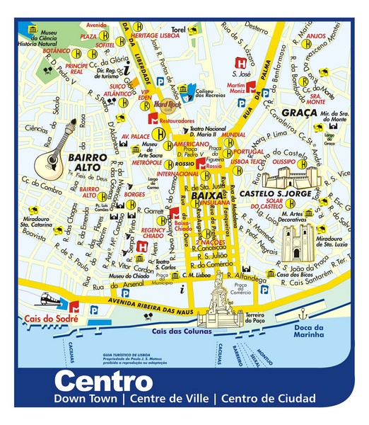 Lisbon Downtown Tourist Map Lisbon Portugal mappery