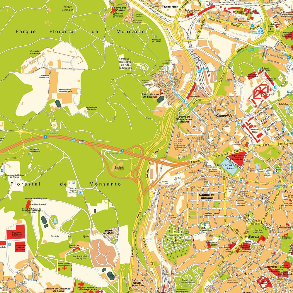 Lisbon Portugal Tourist Map Lisbon Portugal mappery