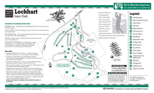 Lockhart, Texas State Park Facility and Golf Course Map