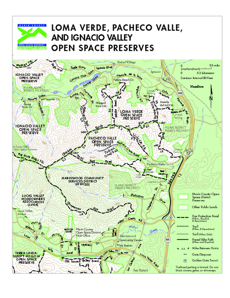 Loma Verde, Pacheco Valley, Lucas Valley and Ignacio Valley Open Space Preserves Map