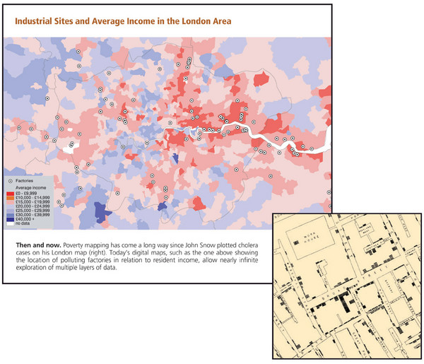 London Income and Industrial Plants Map