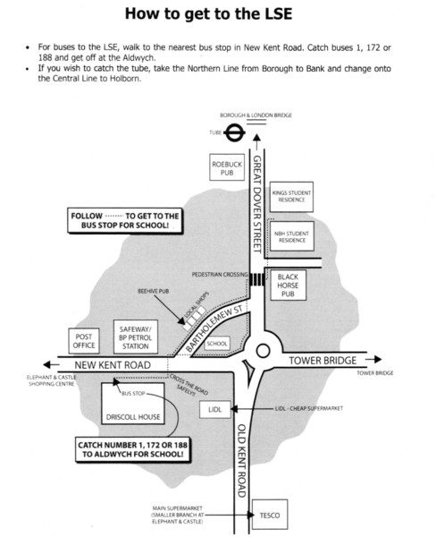 London School of Economics Bus Stop Map