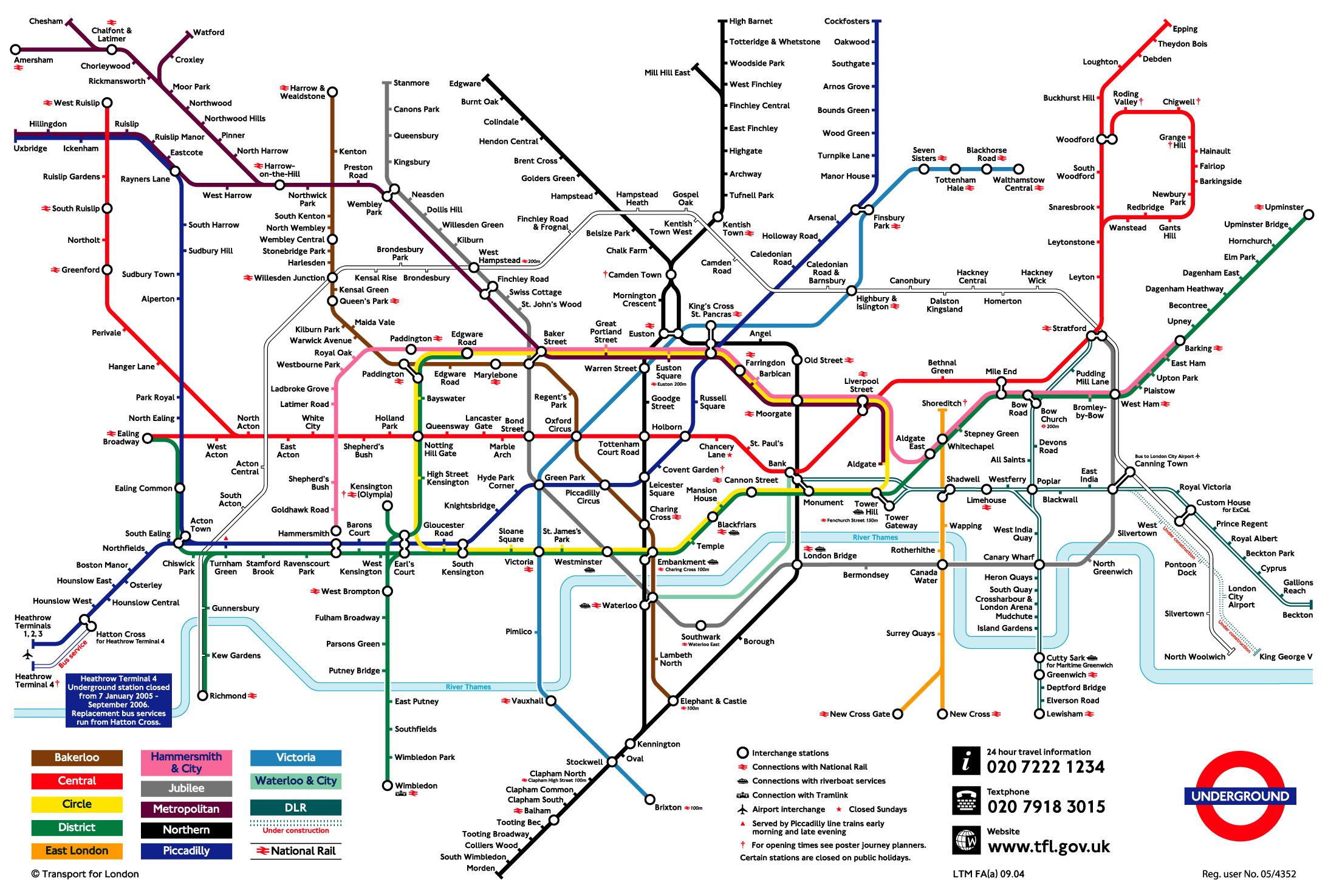 london underground transportation map london mappery
