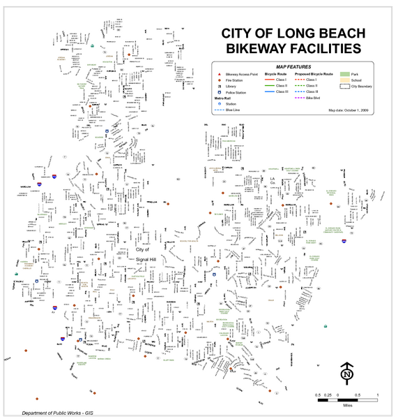 Long Beach Bike Routes Map