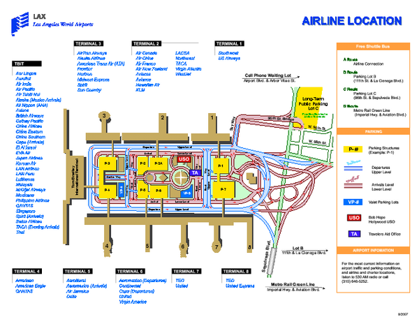Los Angeles International Airport Terminal Map